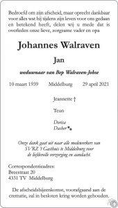 Jan Walraven overlijdensbericht