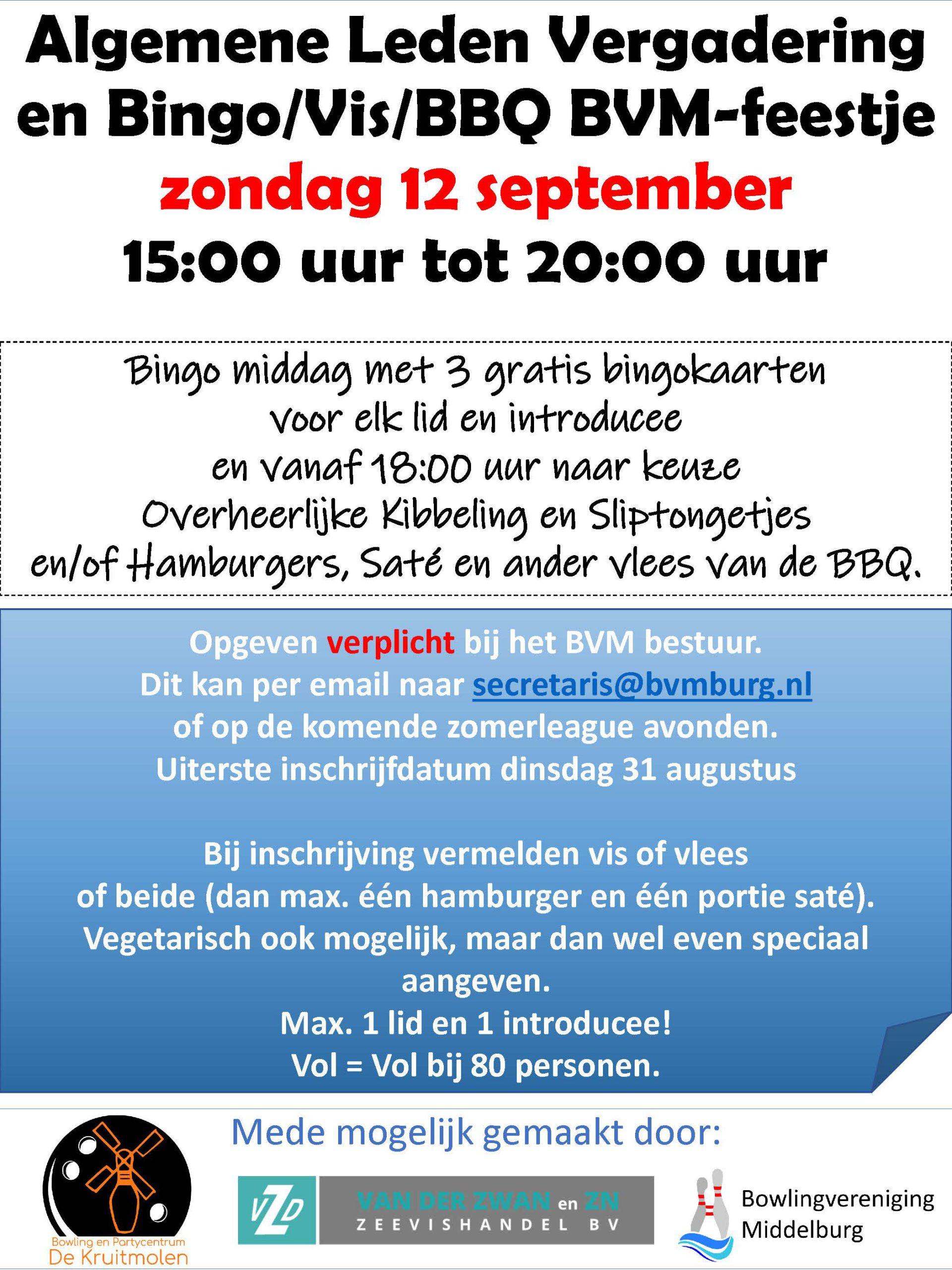 ALV / Bingo Vis en BBQ BVM-Feestje zondag 21 september 2021